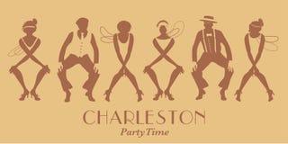 Silhouettes de quatre filles et de rétro danse de port pour deux hommes Charleston d'aileron de vêtements illustration de vecteur