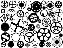 Silhouettes de roue de trains Images stock