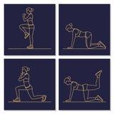 Silhouettes de séance d'entraînement d'exercice de femme de forme physique de sport Image stock