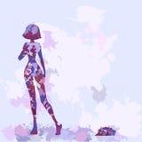 Silhouettes de série dans la couleur lilas. Styl d'aquarelle Photo stock