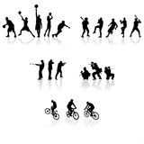 Silhouettes de sport Photos stock