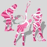 Silhouettes de sport du tennis des femmes Image stock
