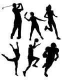 Silhouettes de sports Photos libres de droits