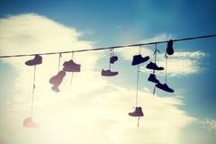 Silhouettes de style d'Instagram des chaussures Photo libre de droits