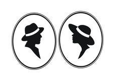Silhouettes de têtes de Madame et de Gentelmen Image stock