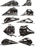 silhouettes de train Images stock