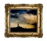 Silhouettes de Venise dans un cadre de cru photos stock
