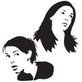 Silhouettes de visage Photographie stock libre de droits