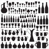 Silhouettes de Wineware Photographie stock libre de droits