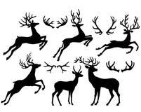 Silhouettes of deers and deer horns. Black silhouettes of deers and deer horns Royalty Free Stock Photos