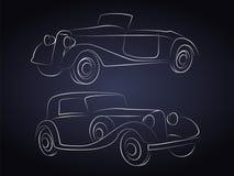 Den Retro bilen Silhouettes framme Arkivfoton