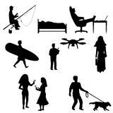 Silhouettes depicting the rest of people. Stock Images