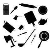 Silhouettes des accessoires de cuisine illustration de vecteur