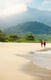 Silhouettes des amies marchant sur une plage Photo libre de droits