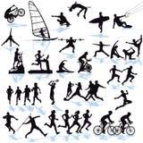Silhouettes des athlètes Photographie stock