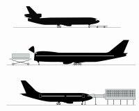 Silhouettes des avions Photographie stock libre de droits