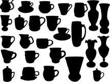 Silhouettes des bacs et des vases Photos stock