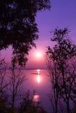 Silhouettes des bois sur le coucher du soleil coloré d'été Compositi de nature Images stock