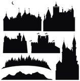 Silhouettes des châteaux et des éléments pour la conception Images libres de droits