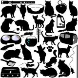 Silhouettes des chats, chatons Images stock