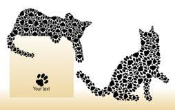 Silhouettes des chats des pattes Images libres de droits