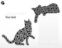 Silhouettes des chats des pattes Photographie stock