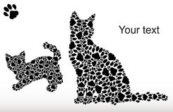 Silhouettes des chats des voies de chat Photo stock