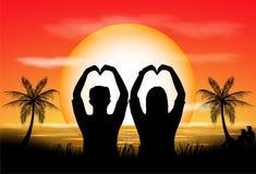 Silhouettes des couples Photos libres de droits