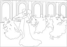Silhouettes des couples dansant la valse Image libre de droits