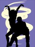 Silhouettes des danseurs Photo stock