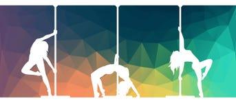 Silhouettes des danseurs de poteau dansant la danse contemporaine sur le fond abstrait illustration de vecteur