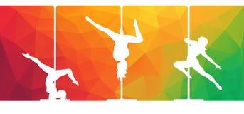 Silhouettes des danseurs de poteau dansant la danse contemporaine sur le fond abstrait illustration stock