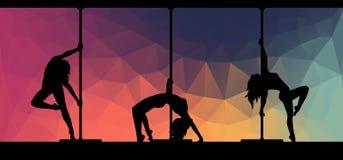 Silhouettes des danseurs de poteau sur le fond abstrait illustration de vecteur