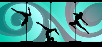 Silhouettes des danseurs de poteau sur le fond abstrait illustration libre de droits