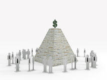 Silhouettes des employés sous un piramid Photos libres de droits