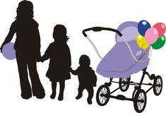 Silhouettes des enfants. Chéri-chariot Image stock