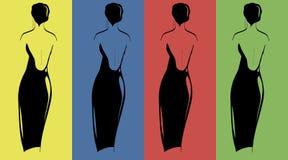 Silhouettes des femmes dans des robes de soirée 1 Images libres de droits