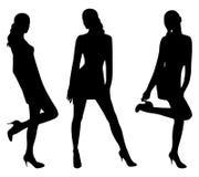 Silhouettes des femmes sexy Images libres de droits