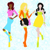 Silhouettes des filles dans des couleurs acides sixties Image stock