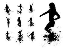 Silhouettes des filles de danse illustration de vecteur