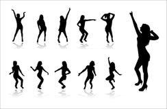 Silhouettes des filles de danse illustration libre de droits