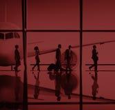 Silhouettes des gens d'affaires d'aéroport de concept de passager Image libre de droits