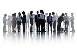 Silhouettes des gens d'affaires d'entreprise travaillant le concept Photo stock