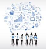 Silhouettes des gens d'affaires et du concept de vision Photographie stock