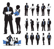 Silhouettes des gens d'affaires travaillant le concept de discussion Image stock