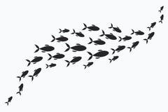 Silhouettes des groupes de poissons de mer Colonie de petits poissons Icône avec des personnes imposant les impôts de rivière Illustration Stock