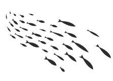 Silhouettes des groupes de poissons de mer Colonie de petits poissons Icône avec des personnes imposant les impôts de rivière Illustration de Vecteur