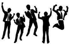 Silhouettes des hommes d'affaires heureux enthousiastes Photo stock