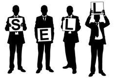 Silhouettes des hommes d'affaires tenant des panneaux Images libres de droits