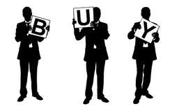 Silhouettes des hommes d'affaires tenant des panneaux Photo libre de droits